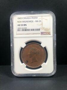 1843 Canada New Brunswick Penny Token, NGC AU 53, NB2-A