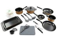21pc Kitchen Student Starter Set Copper Pots Pans Cookware Bakeware Utensils