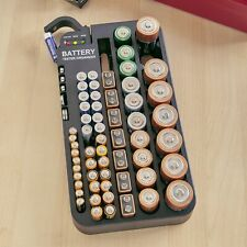 2-in-1 Battery Tester and Organizer - 72 Slots for Various Unit Types