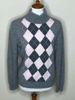 Apt. 9 XL 100% Cashmere Gray Turtleneck Argyle Sweater Long Sleeve Women's