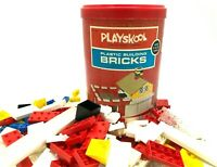 Vintage PLAYSKOOL - PLASTIC BUILDING BRICKS (176 PIECES) + Canister, 1970 RETRO