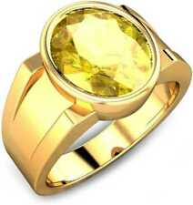 Natural 7.40 ct./8.25 Ratti Yellow sapphire/Pukhraj Silver Ring Gold Pleated