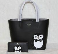 Kate Spade Penguin Clifton Lane Large Len Tote Bag & Wallet Purse Set Handbag