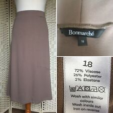 Bon Marche Beige Flare Midi Calf Length Skirt - Plus Size 18, elasticated waist