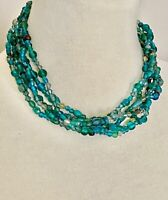 """Vintage Triple Strand Blue Green Recycled Glass Necklace 18""""-21"""""""