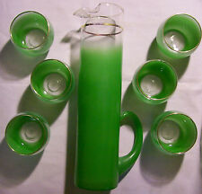 West Virginia Specialty Glass Green Blendo Martini/Beverage Set 1950s 7 Pcs