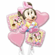 5PC Disney foil balloon bouquet girls 1st birthday Pink Minnie Hearts Inflate