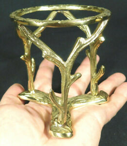 One LARGE Very Sturdy! Brass Sphere Globe Ball or Egg BRANCH Display Stand!