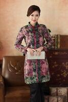 New Chinese Style Women's Organza evening long Jacket/coat sz:8 10 12 14 16