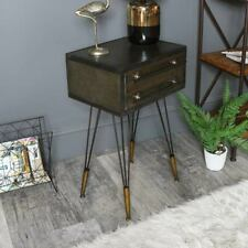 Silver grey metal bedside table stand retro industrial bedroom furniture decor