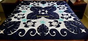 Hawaiian quilt FULL/TWIN BEDSPREAD 100% hand quilted/appliquéd HIBISCUS/MONSTERA