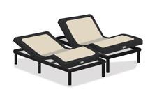 Puffy Split King Massage Adjustable Base-Upholstered with USB Ports (Dark Gray)