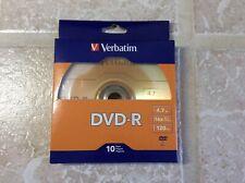 New Verbatim DVD-R - 10 Pack - 4.7GB 16x 120 min Recordable Disc