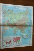 1923 Map Of Asia - High Quality By John Bartholomew Inset Maps Population Races