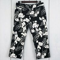 Ralph Lauren CHAPS sz 8 Women's Black White Floral Stretch Crop Pants Trousers