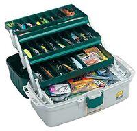 Plano 3 Tray Tackle Box Fishing Tackle Box Hard Case Fish Hunt Camp GREEN-