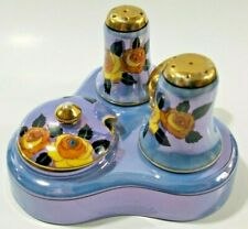 Vintage Lusterware Japan Salt Pepper Blue 5 Piece Condiment Tray Yellow Roses