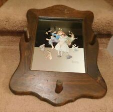 """Vintage Norman Rockwell Print On Mirror With Hat Rack Frame (12 3/4"""" x 17 3/4"""")"""