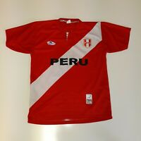 MEN'S DEMBERS PERU SOCCER JERSEY SHIRT, SMALL, RED, LENGTH 25, CHEST 20, SLEEVES