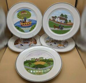 "VILLEROY & BOCH Porcelain Luxembourg DESIGN NAIF  Set of 5 DINNER PLATES 10 1/2"""