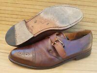 Men size 9.5M Mezlan Athens Brown Leather Oxford Monk Strap Dress Shoes Casual