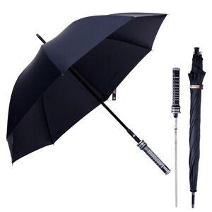 Long Automatic Umbrella Black Large Handle Men Windproof Self Sword Self Defense