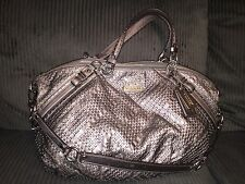 COACH LARGE SOPHIA WOVEN PEWTER METALLIC LEATHER HANDBAG PURSE BAG SATCHEL 17763