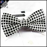 White and Black Grids Bow Tie
