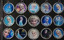 15 Frozen Flat SILVER Bottle Cap Necklaces Set 07