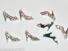 2pc Miniature dollhouse tiny crystal high heel Shoes beads flat backs findings