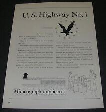 Magazine Print Ad 1940 A B Dick Mimeograph Duplicator U. S. Highway No 1 Eagle