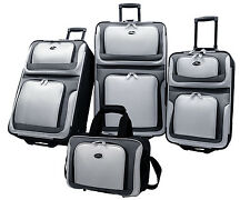 US Traveler Silver New Yorker 4pc Expandable Rolling Luggage Suitcase Travel Set