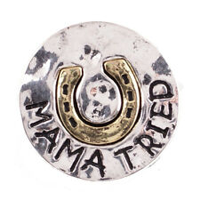 SNAP IN BUTTON CHARM FITS GINGER SNAPS STYLE JEWELRY MAMA TRIED HORSESHOE #86