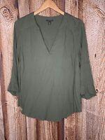 Torrid Harper Olive Green Rayon Dobby Pullover Blouse Women's Plus Size 0