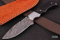 Hand FORGED DAMASCUS STEEL Hunting KNIFE W/ Horn & Steel Bolster Handle Q-1056