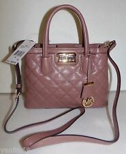 MICHAEL Michael Kors Hannah Small Quilted Leather Satchel Purse NWT Dusty Rose