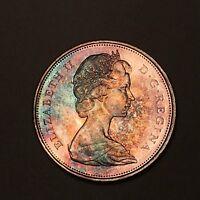 1966 Canada Half Dollar 50C - Gem Uncirculated - Colorful Toning