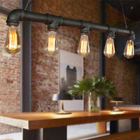 Retro Industry Steampunk Water Pipe Chandelie Pendant Light Loft Ceiling Lamp US
