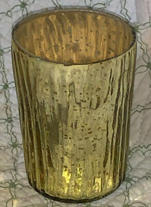 Tapered Textured Mercury Glass Votive Candle Holder