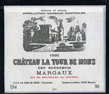 étiquette Château LA TOUR DE MONS. 1992. MARGAUX - CRU BOURGEOIS