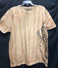 NEW Key Closet LA Men's Short Sleeve Sand  T-Shirt Foil Tattoo Studs LARGE