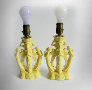 Pair of Cowan art pottery Byzantine lamps - angels
