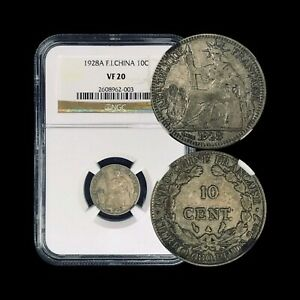 VIETNAM, French Indo-China. 1928, 10 Cent, Silver - NGC VF20 - Key Date, Paris