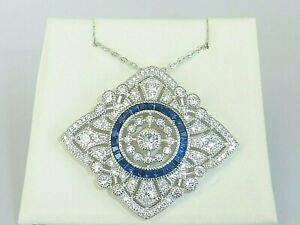 Ladies Art Deco Style Solid Sterling 925 Silver Blue and White Sapphire Necklace
