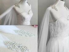 Soft tulle shrug veil Wraps Wedding Jacket Bridal Dress Cape crystal diamante