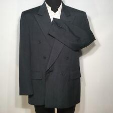 Sterling & Hunt Mens Sport Coat Blazer 42R Wool Double Breasted Dark Green 0383