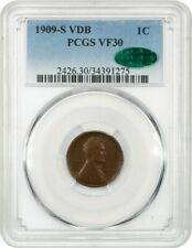 1909-S VDB 1c PCGS/CAC VF30 - Popular Key Date - Lincoln Cent - Popular Key Date