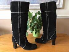 Ladies Carvela Kurt Geiger black leather & suede pull on knee boots UK 6 EU 39