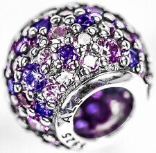Genuino PANDORA púrpura rosado mosaico Pave bola encanto plata esterlina S925 Ale