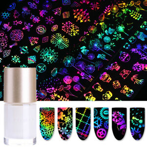 11Pcs Holographicss Nail Foil Glue Set Rose Butterfly  Transfer Stickers
